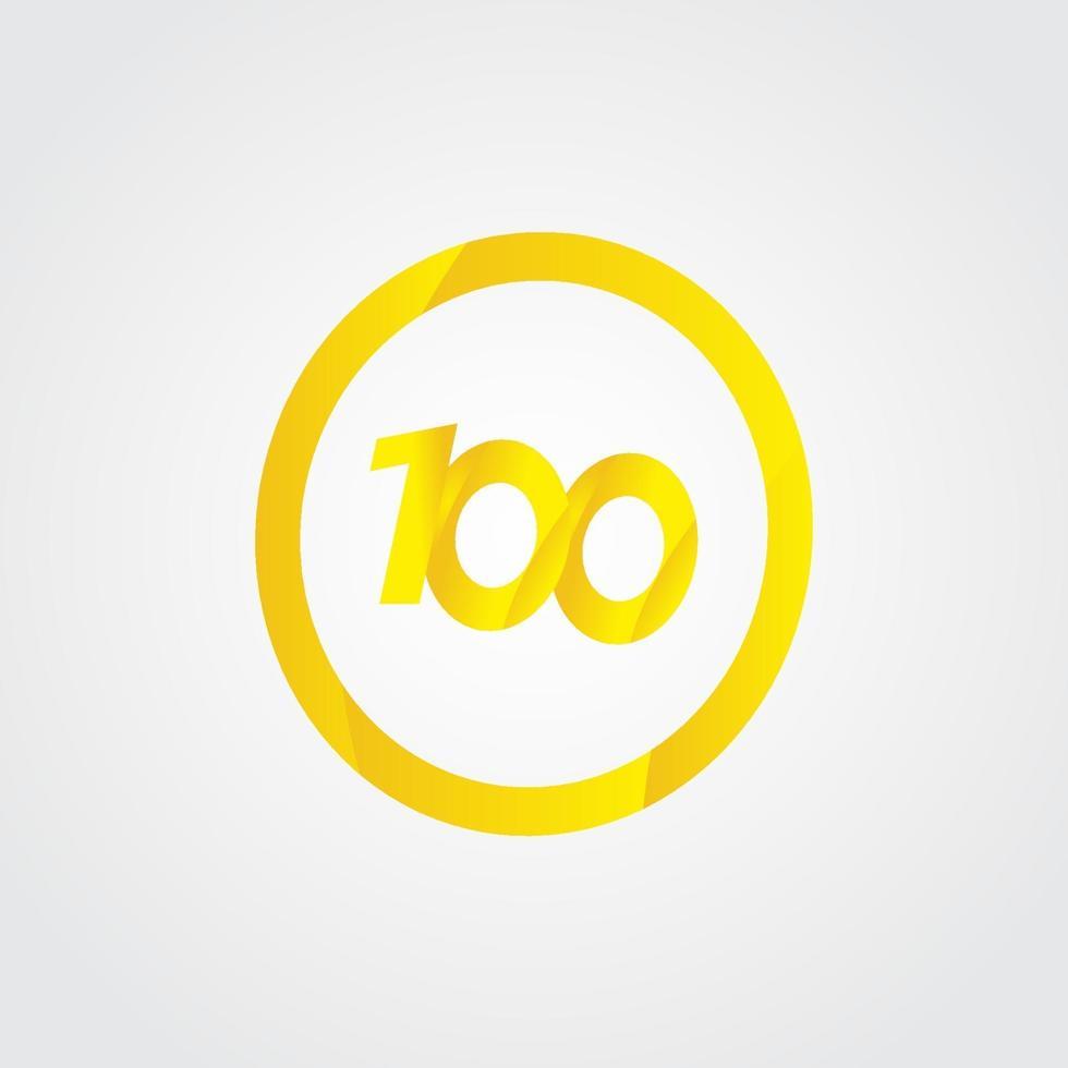 100 º aniversário celebração círculo número amarelo ilustração vetorial modelo de design vetor