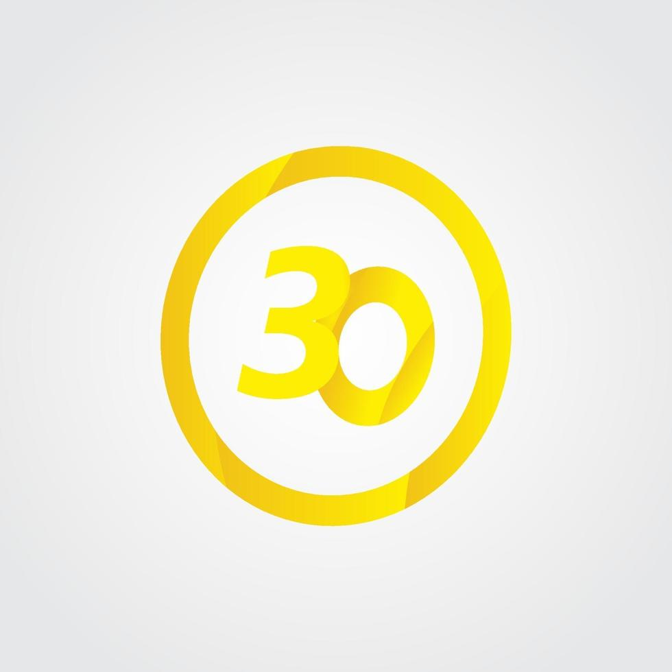 Ilustração de design de modelo de vetor de círculo de celebração de 30 aniversário