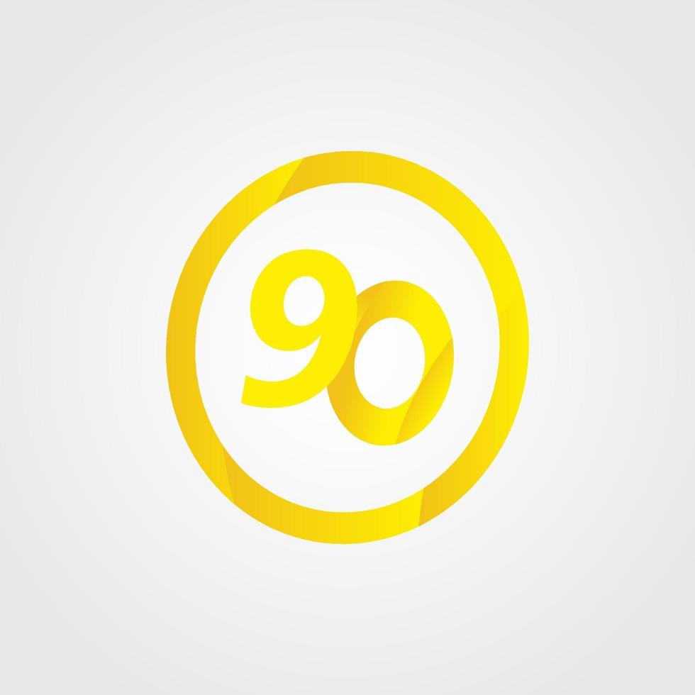 90 aniversário celebração círculo número amarelo ilustração vetorial modelo de design vetor