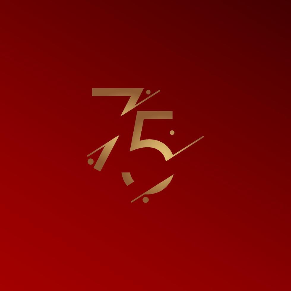 75 anos de comemoração de aniversário elegante número ilustração vetorial de modelo de design vetor