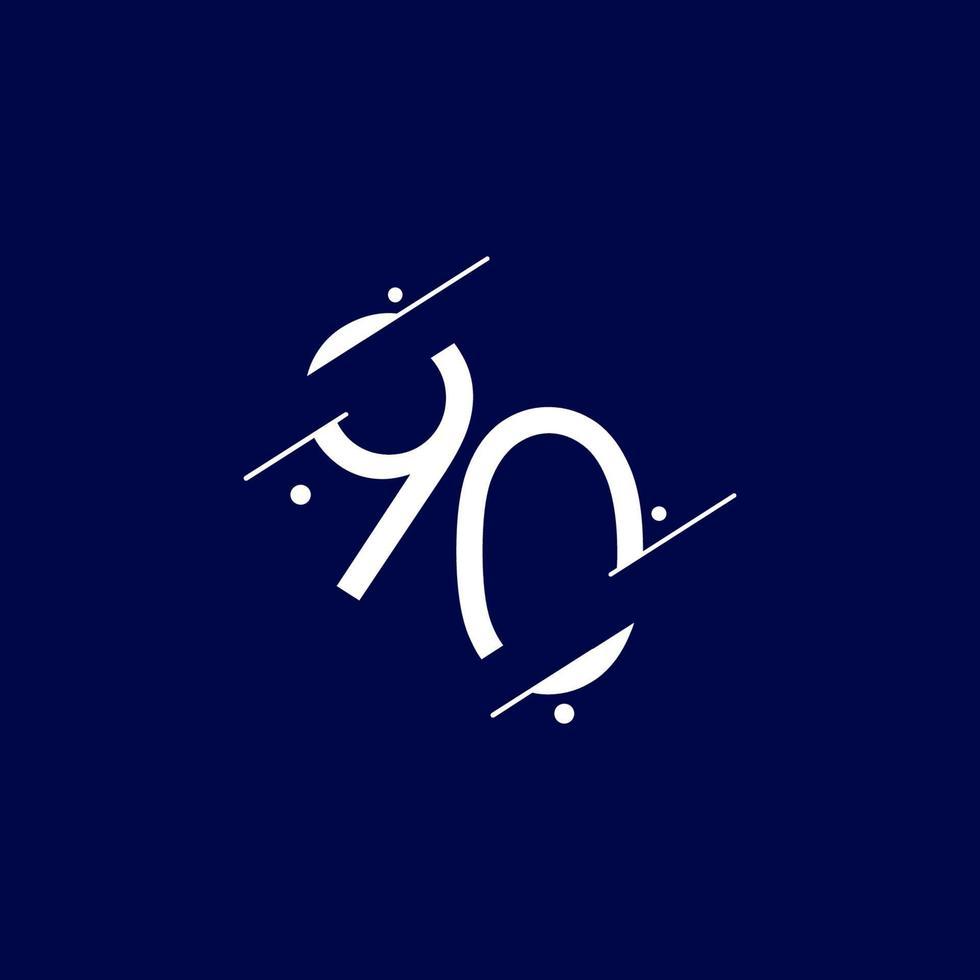 90 anos de comemoração de aniversário elegante número ilustração vetorial de modelo de design vetor