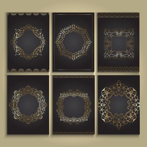 Ouro decorativo e fundos pretos vetor