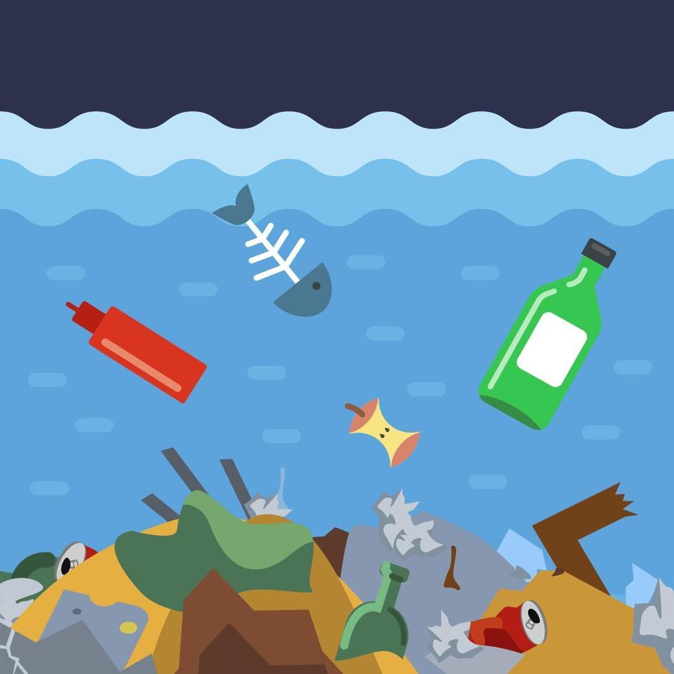 jogue lixo no fundo do oceano. desastre ecológico na água. ilustração vetorial plana. vetor