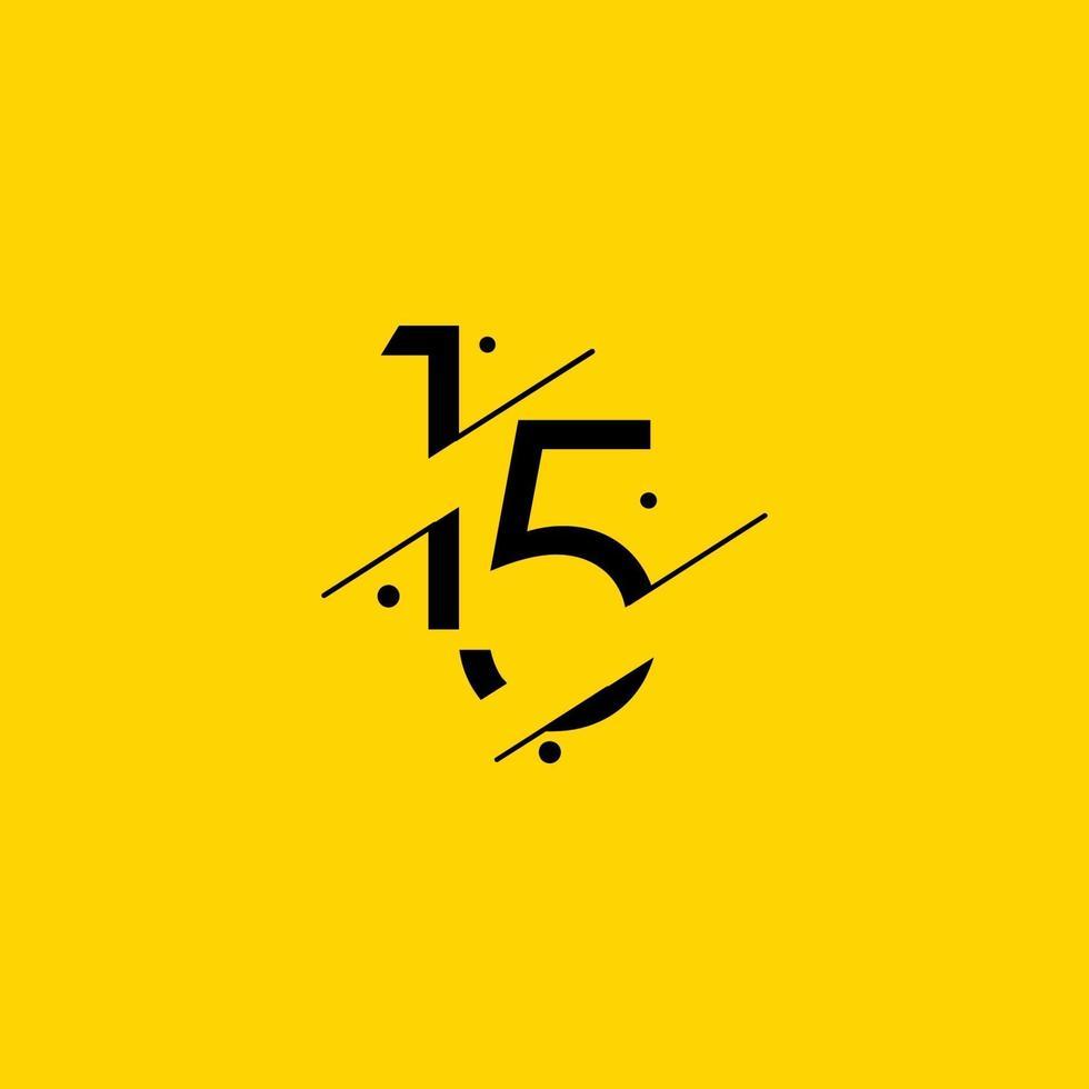 15 anos de comemoração de aniversário elegante número ilustração vetorial de modelo vetor