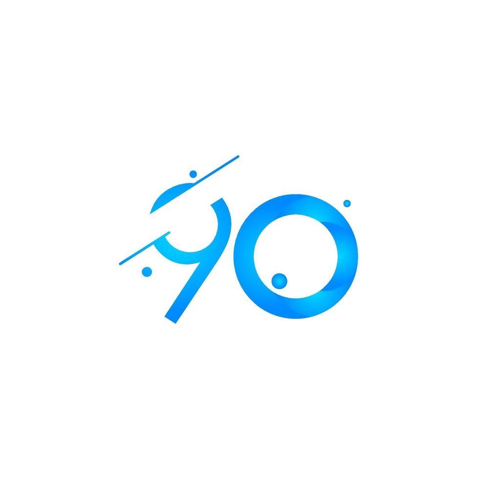 90 aniversário celebração gradiente número azul ilustração vetorial modelo vetor