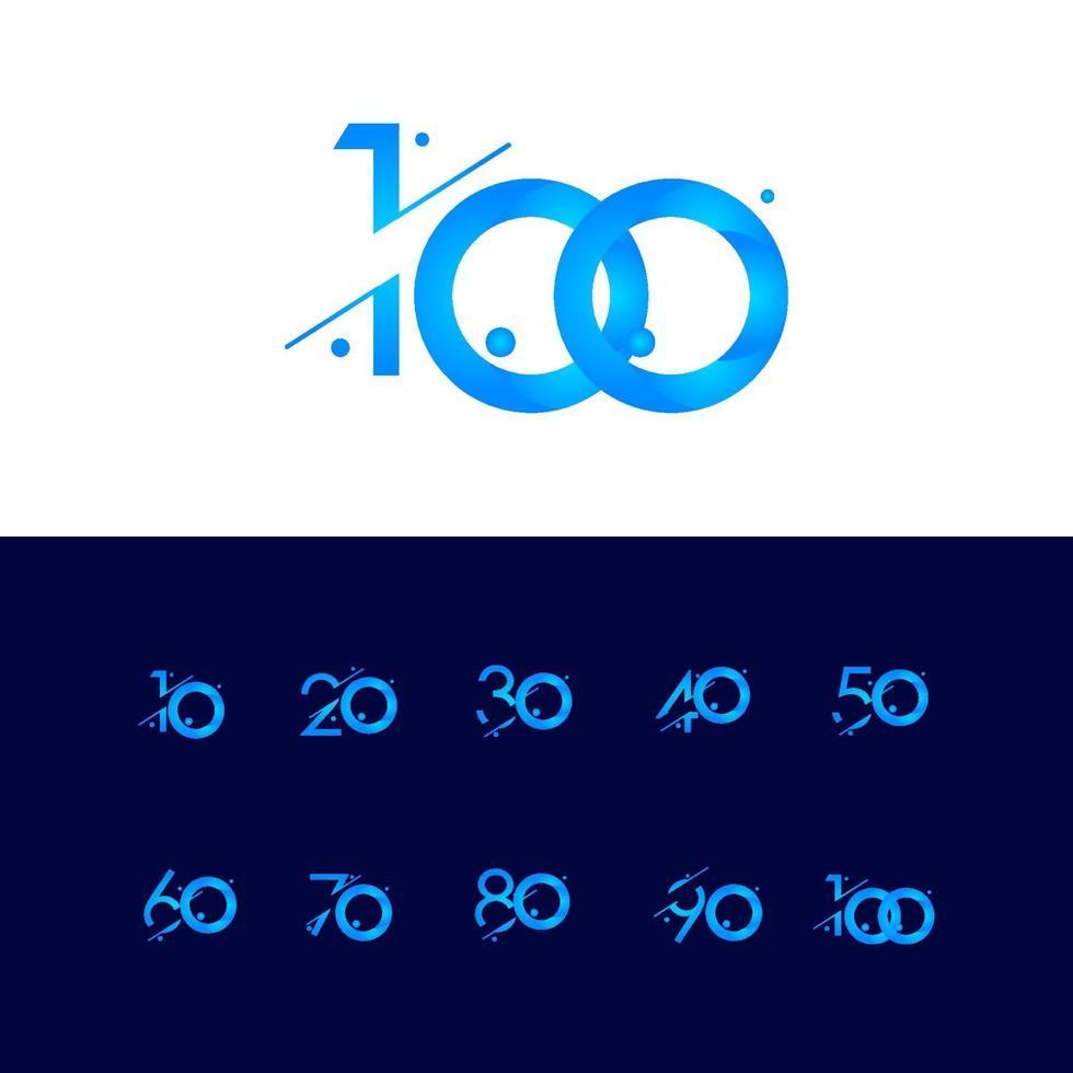 100 aniversário celebração gradiente número azul ilustração vetorial modelo vetor