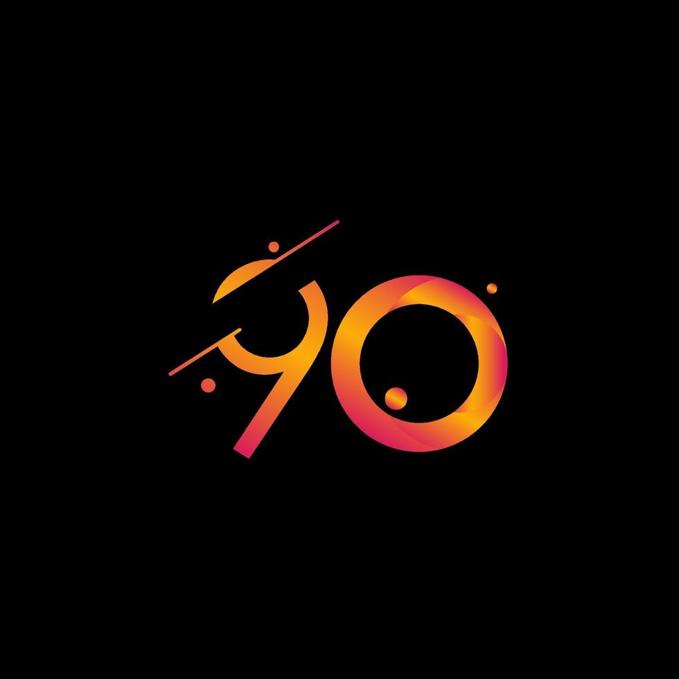 90 anos aniversário celebração gradiente número ilustração vetorial modelo design vetor