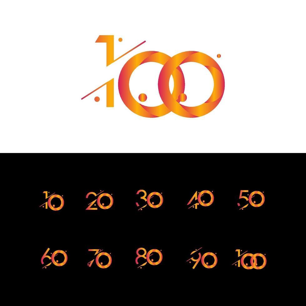 100 anos aniversário celebração gradiente número ilustração vetorial modelo design vetor