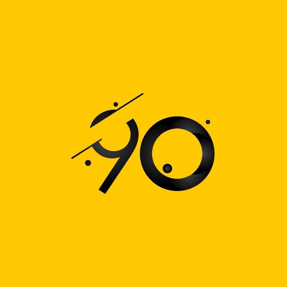 Celebração de aniversário de 90 anos gradiente número amarelo ilustração vetorial modelo vetor