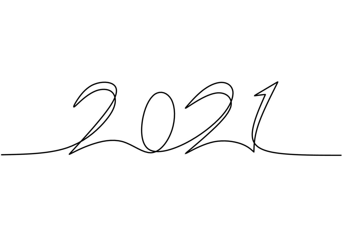 2021 design de ano novo em arte de linha contínua desenho estilo minimalista esboço linear preto isolado no fundo branco. ano do touro. conceito de feliz ano novo. ilustração de desenho vetorial vetor
