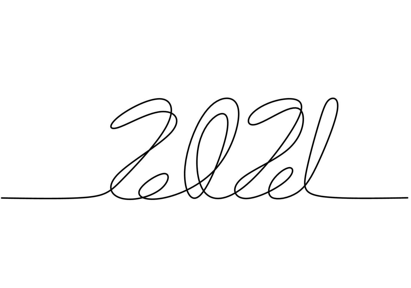 contínuo um desenho de linha de um ano novo 2021. ano novo chinês da rotulação manuscrita do touro. conceito de celebração de ano novo isolado no fundo branco. ilustração de desenho vetorial vetor