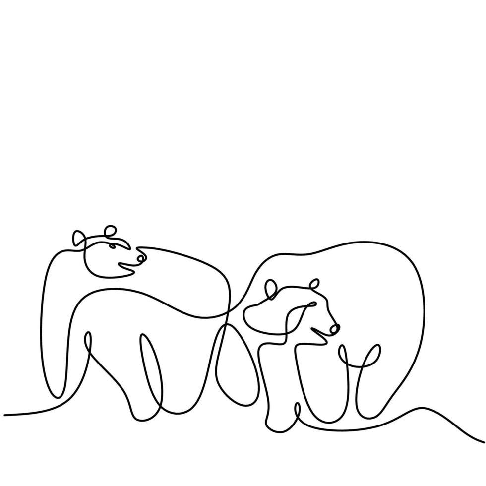 único desenho de uma linha contínua de dois ursos panda na terra de gelo. um panda gigante na floresta. conceito de mascote de animais selvagens de inverno mão desenhada ilustração em vetor estilo minimalismo.