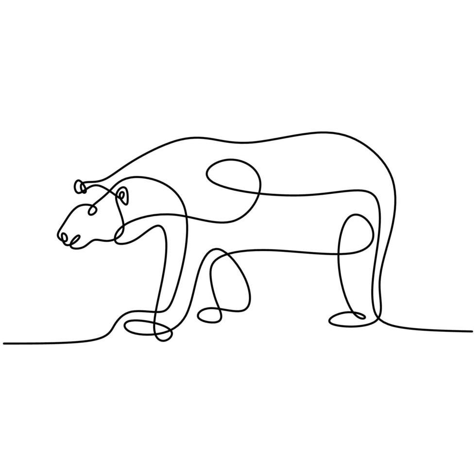 desenho de linha contínua de ursos. um urso gigante caminhando para a frente na selva, isolada no fundo branco. mão desenhada design minimalismo de linha única. conceito de animais selvagens. ilustração vetorial vetor