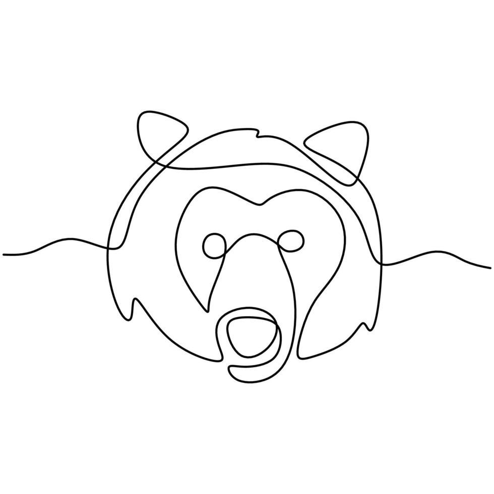 a cabeça do urso continua um desenho de linha. perigo grande animal com expressão de raiva isolada no fundo branco. cabeça de urso furiosa, urso rosnando. conceito de animal selvagem. ilustração vetorial vetor