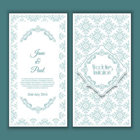 Design de convite de casamento decorativo vetor