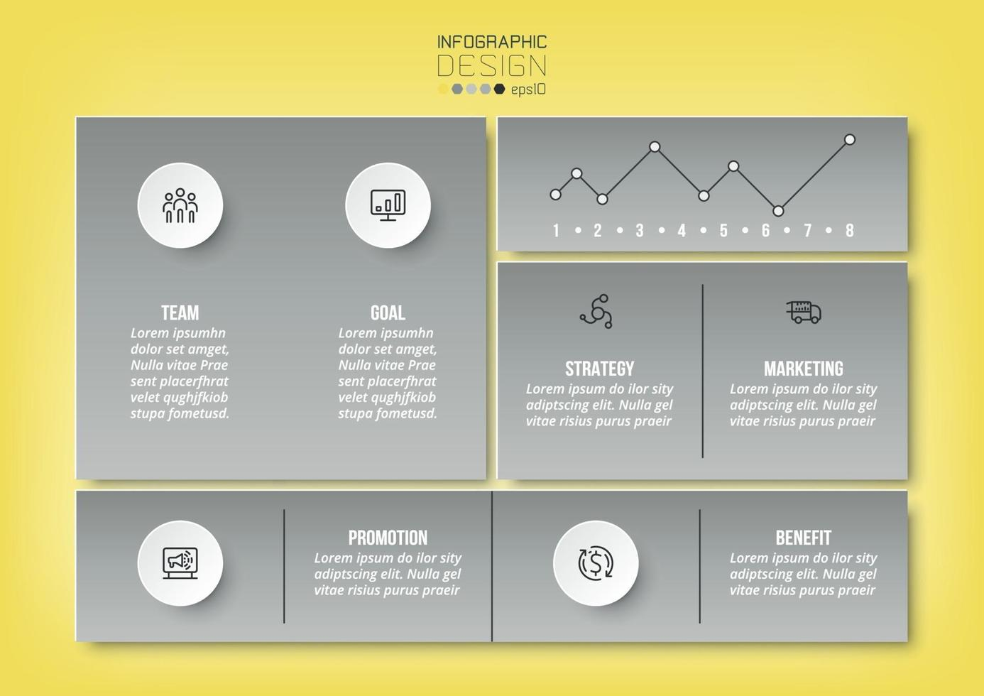 modelo de infográfico de conceito de negócio ou marketing. vetor