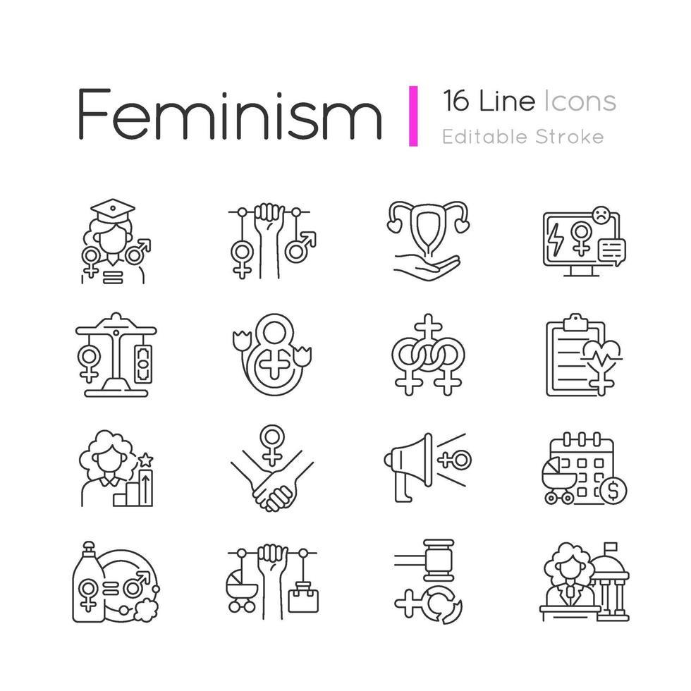 mulheres no conjunto de ícones lineares do governo vetor