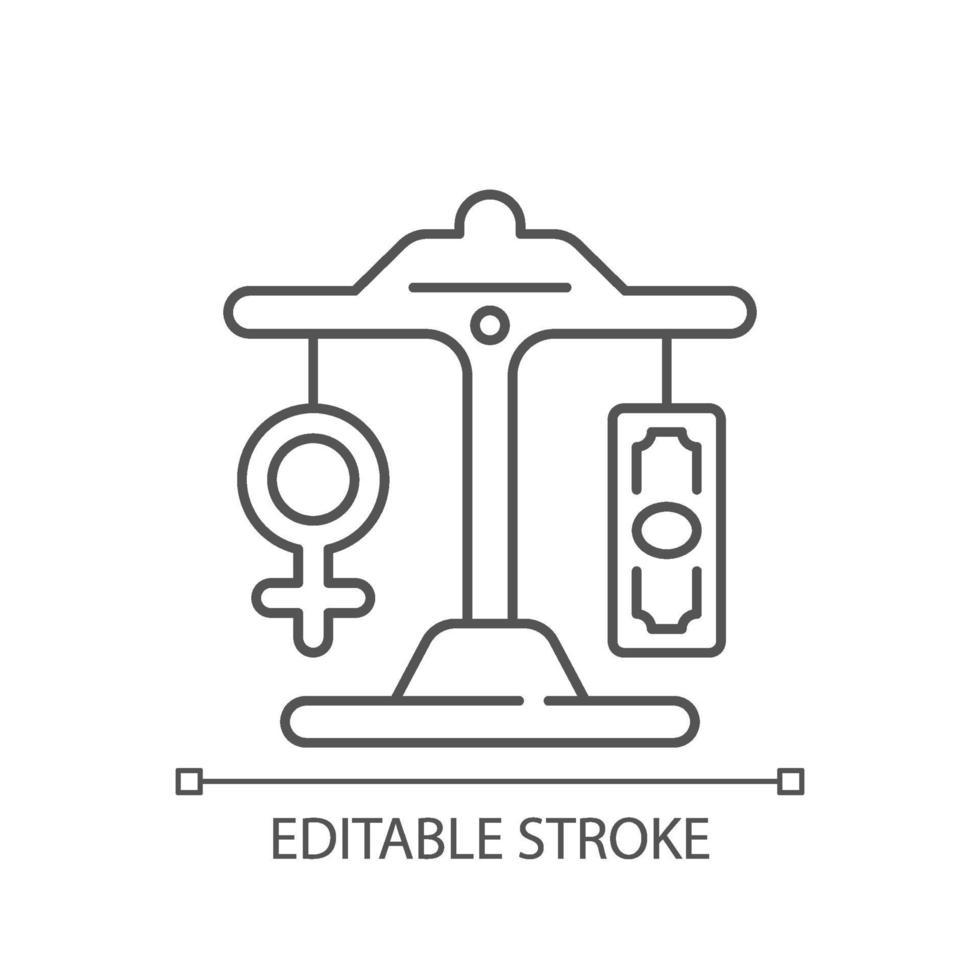 ícone linear de pagamento igual vetor