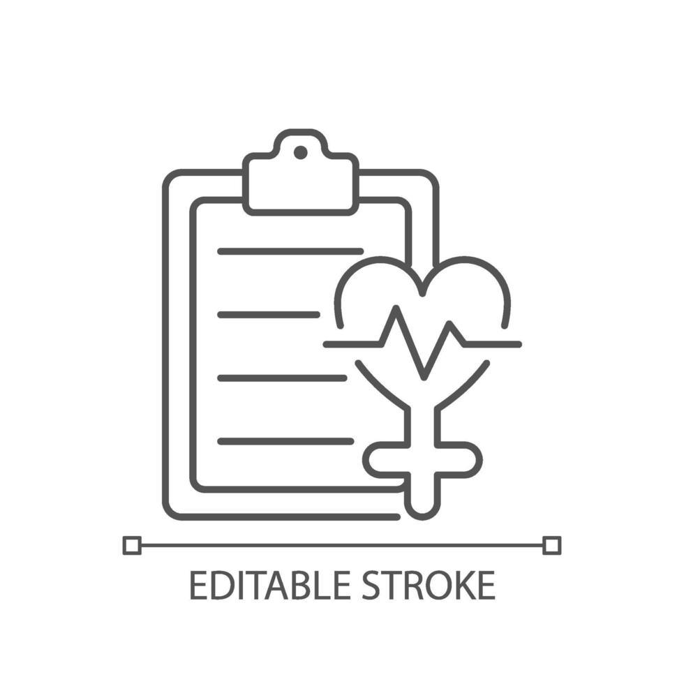 acesso ao ícone linear de saúde vetor