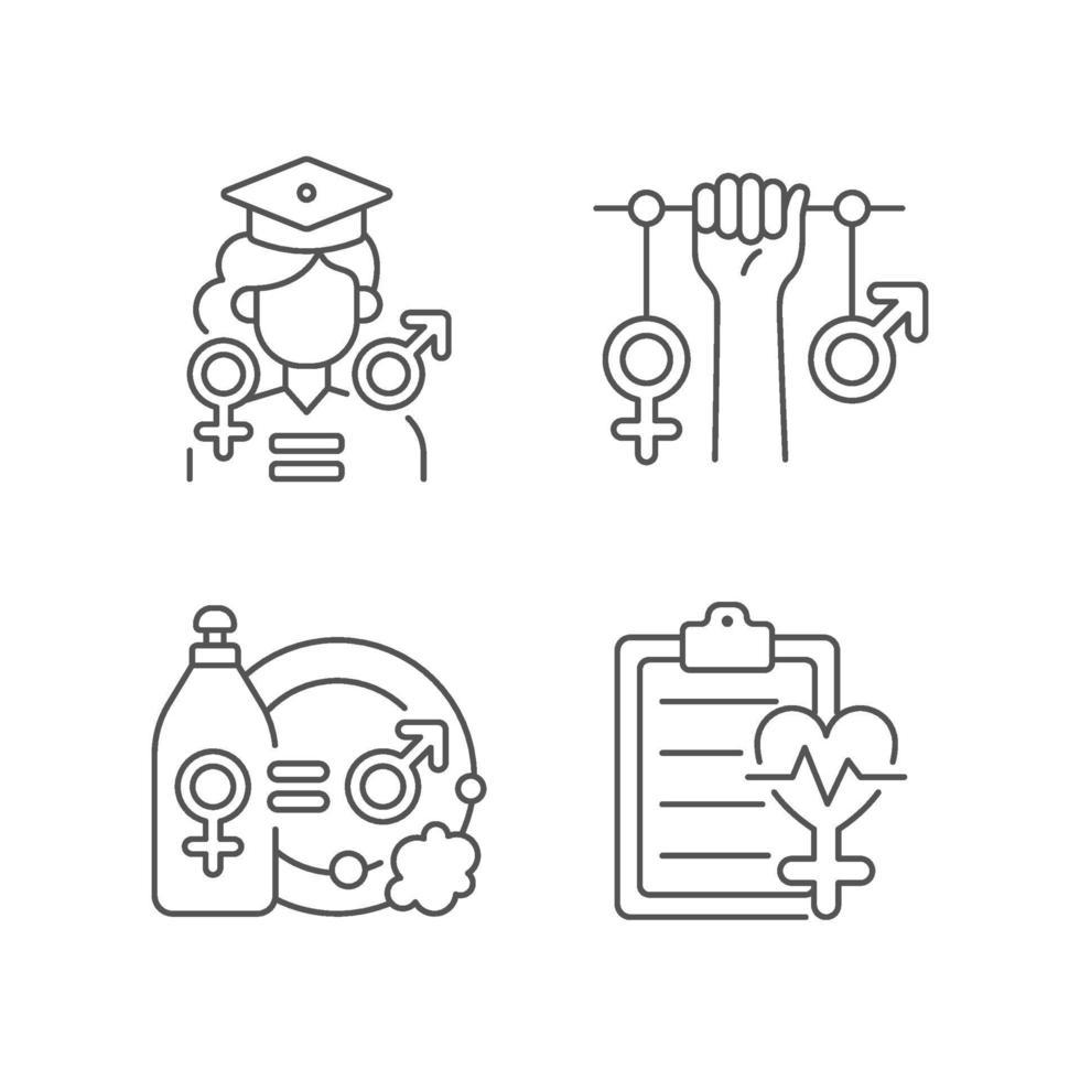 conjunto de ícones lineares de oportunidades iguais de educação vetor