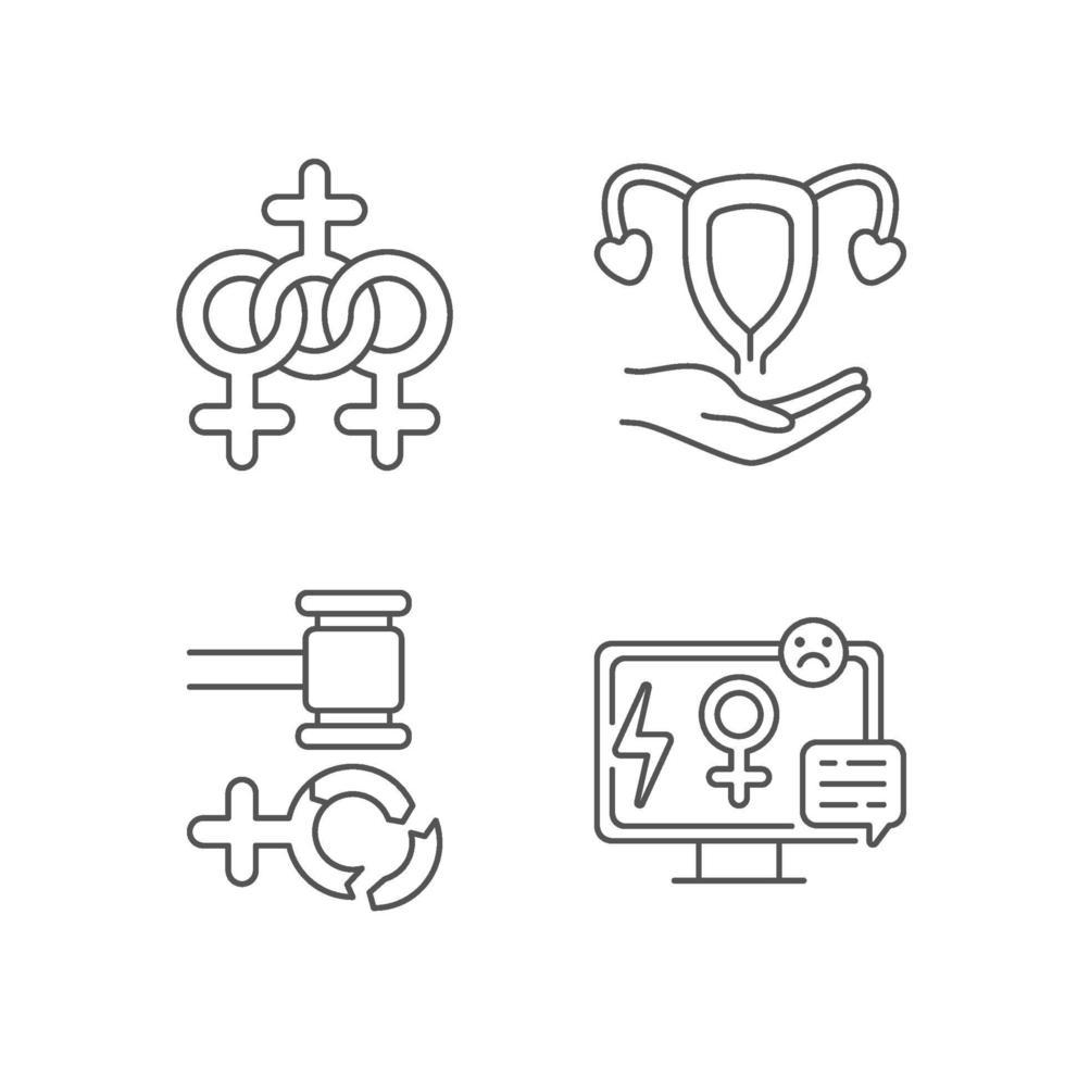 conjunto de ícones lineares do feminismo vetor