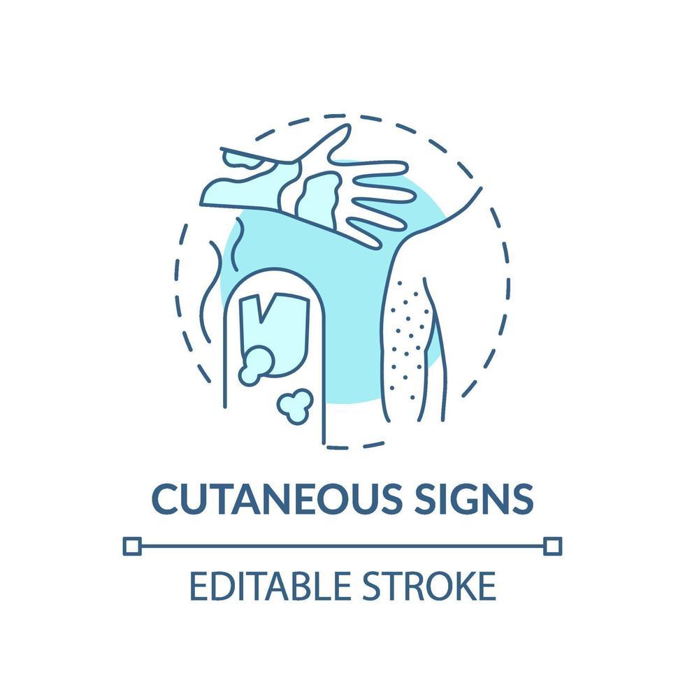 ícone do conceito de sinais cutâneos vetor