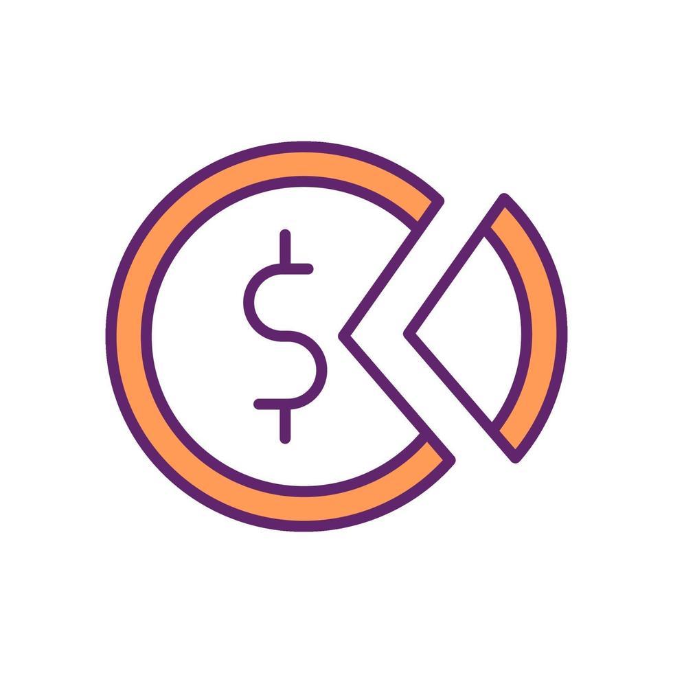 ícone colorido de distribuição de riqueza e renda vetor