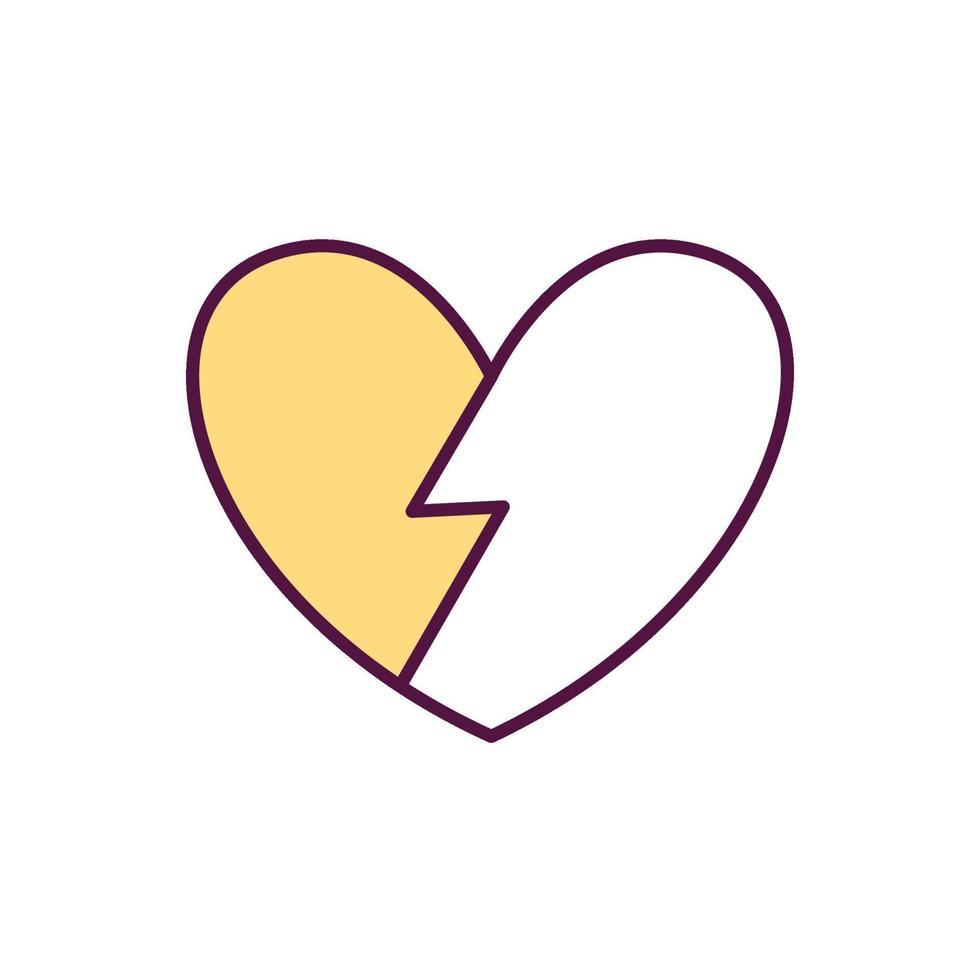 ícone de cor da síndrome do coração partido vetor