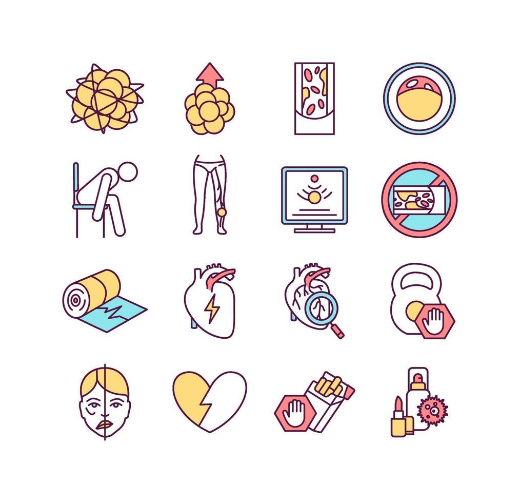 conjunto de ícones de cores para doenças cardiovasculares vetor