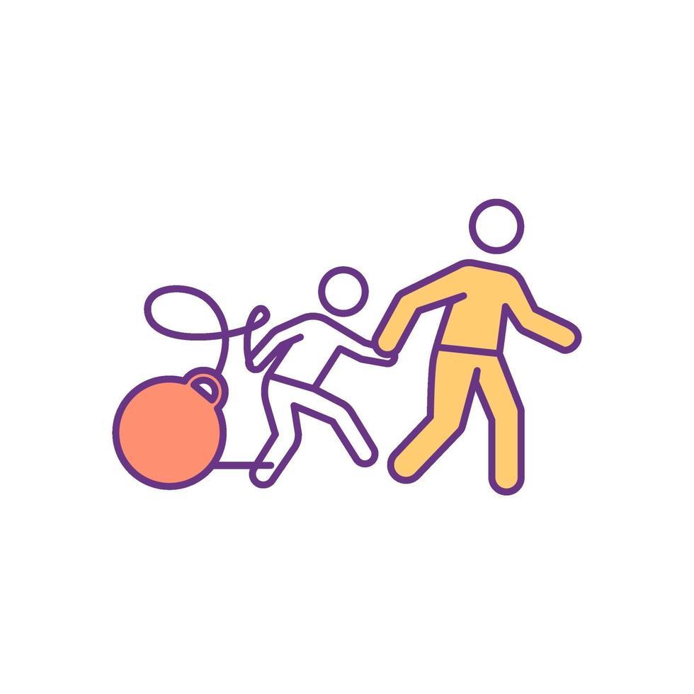 ajudando criança a superar dificuldades ícone colorido vetor