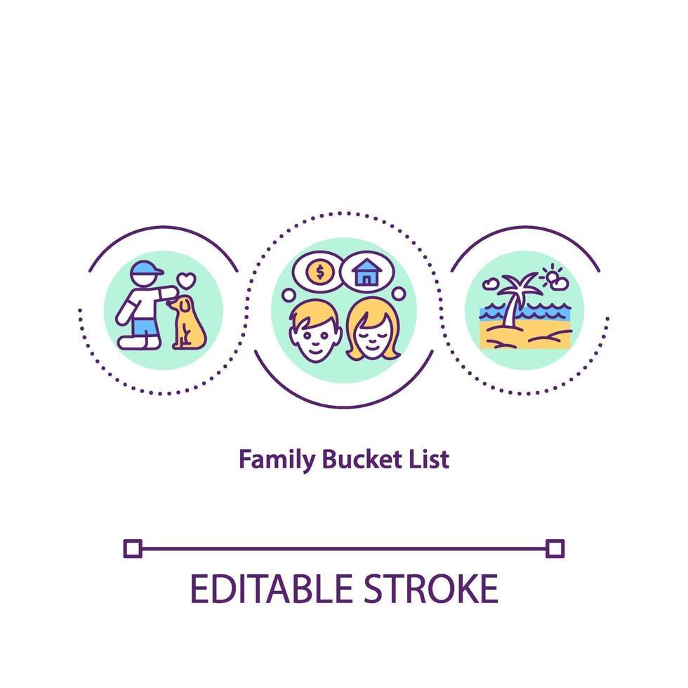 ícone de conceito de lista de balde de família vetor