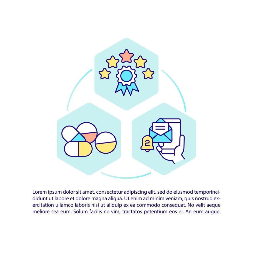 ícone de conceito de drogaria online com texto vetor
