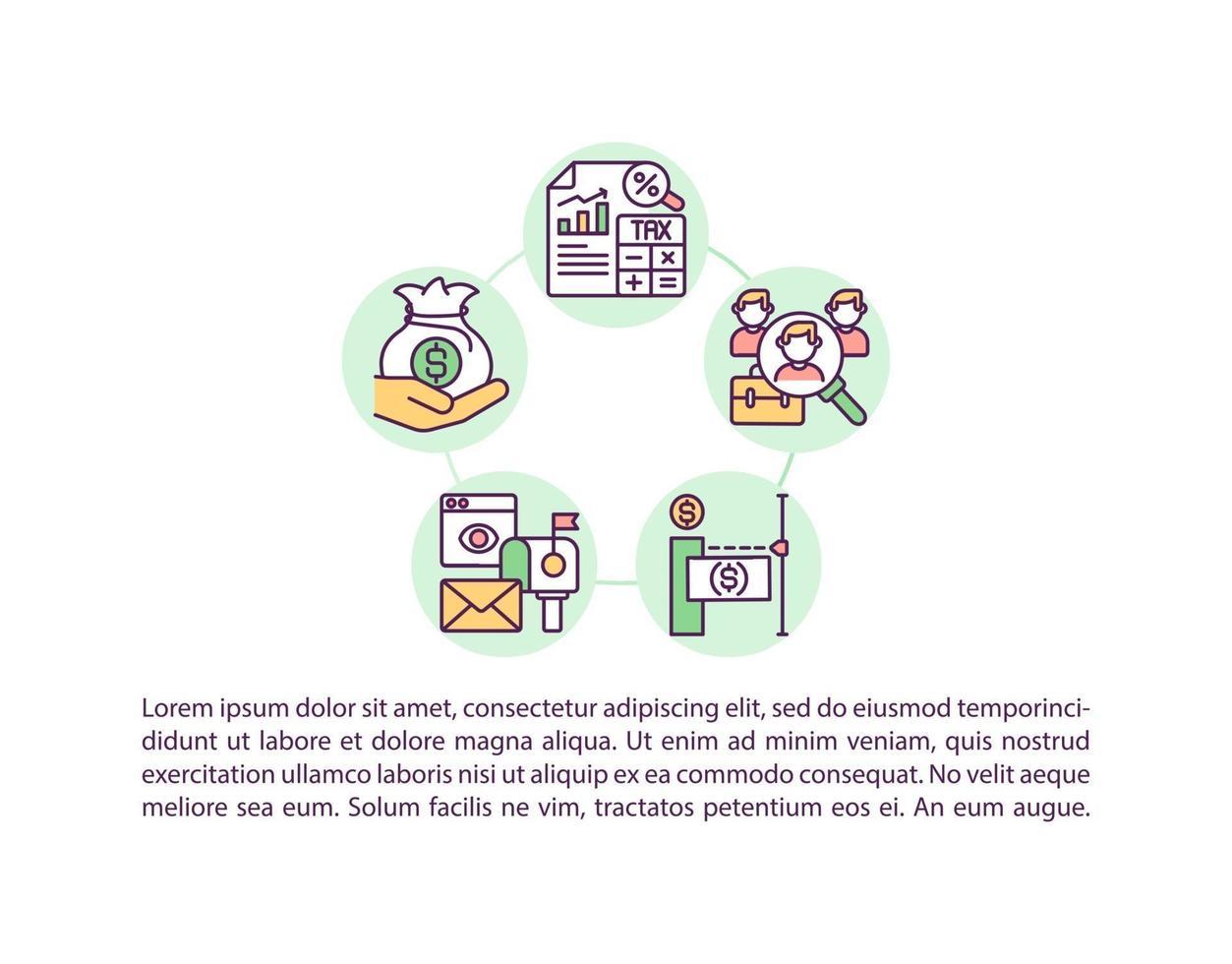 ícone do conceito de processo de pagamento com texto vetor