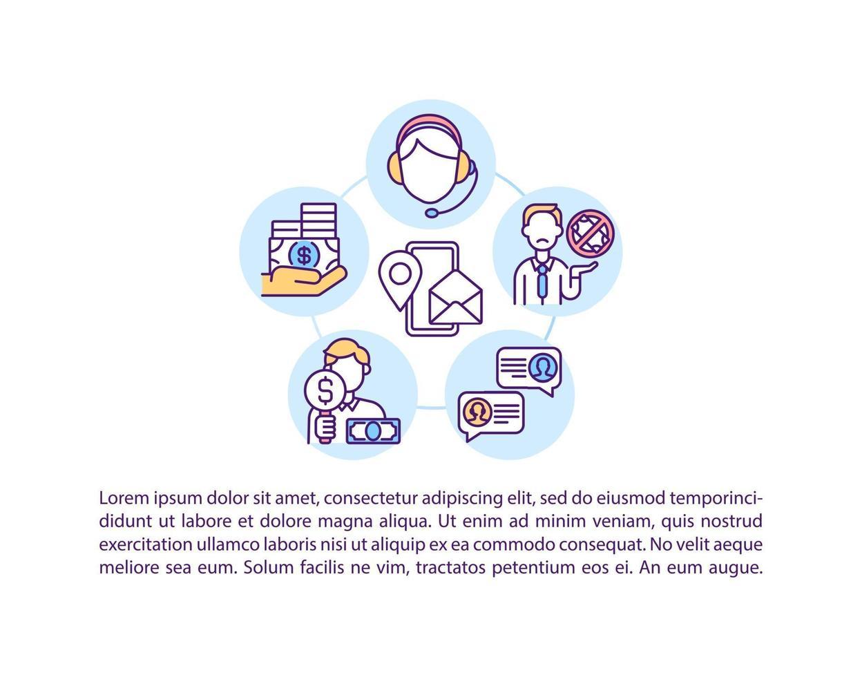 contacte-nos ícone do conceito com texto vetor