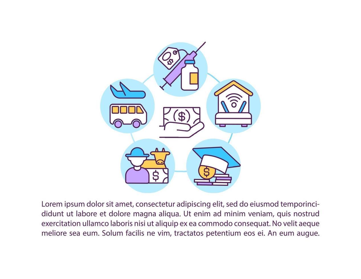 apoiando o ícone do conceito de setores da indústria com texto vetor