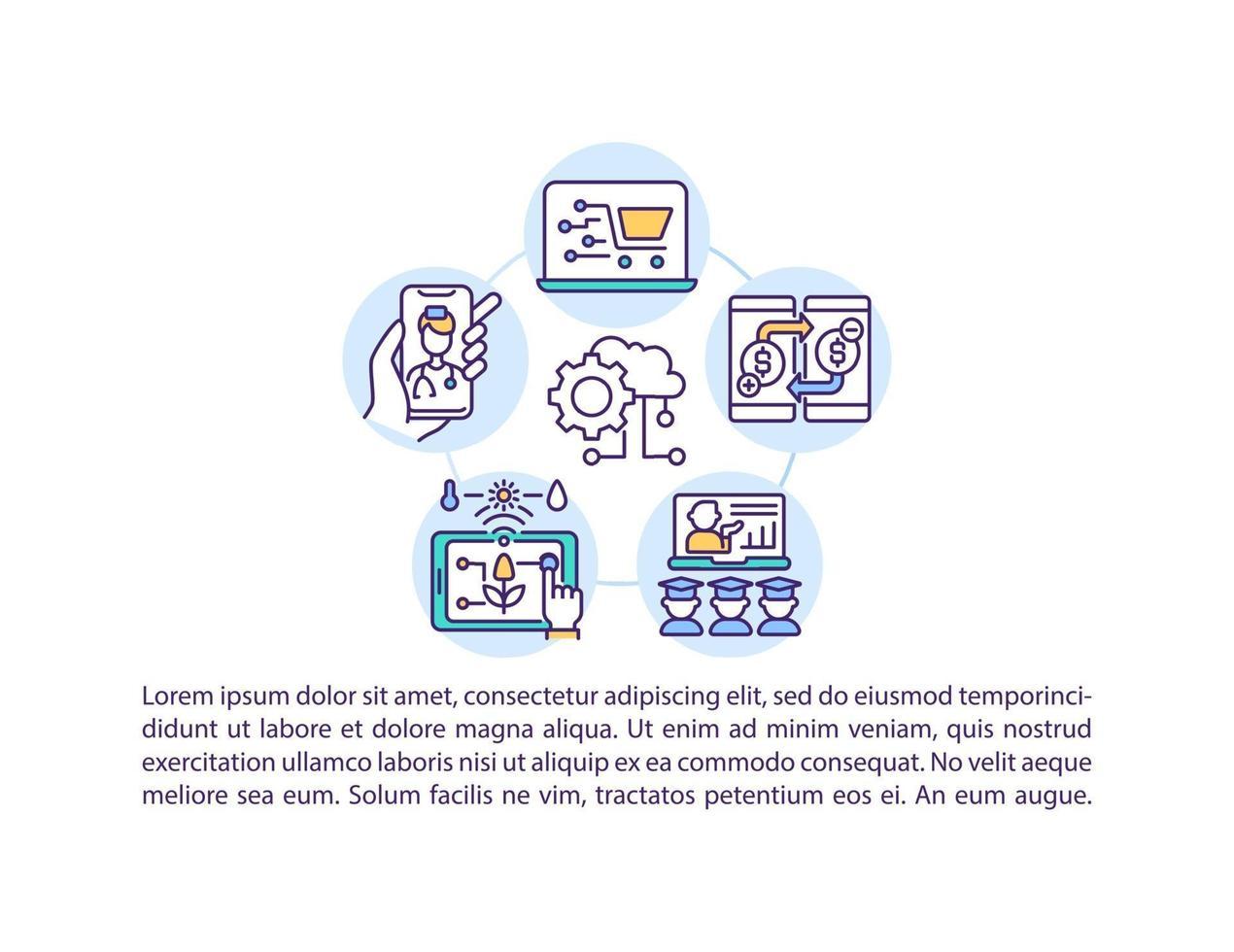 acelerando o ícone do conceito de digitalização com texto vetor