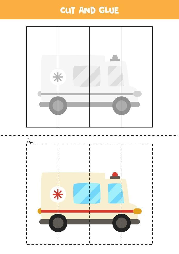 Corte e cole o jogo para crianças. carro de ambulância dos desenhos animados. vetor