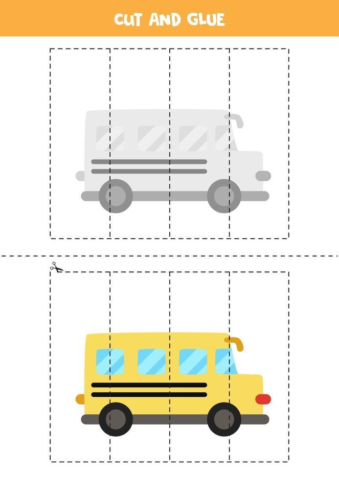 Corte e cole o jogo para crianças. ônibus escolar dos desenhos animados. vetor