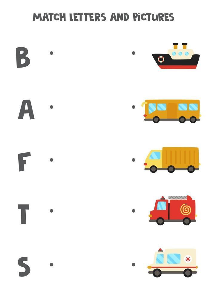 combinar meios de transporte com letras do alfabeto. jogo educativo. vetor