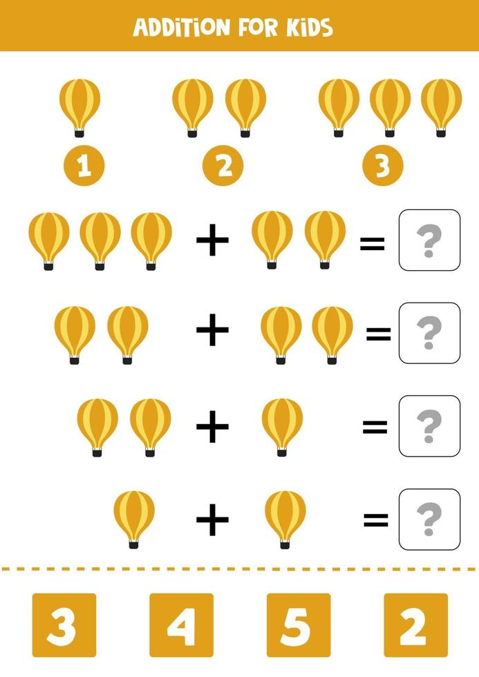 planilha de adição com balão de ar de desenho animado. jogo de matemática. vetor