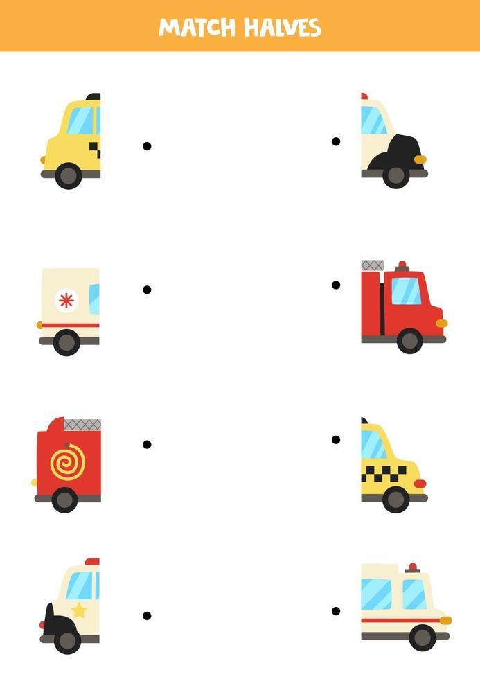 combinar peças de transporte de desenho animado. jogo lógico para crianças. vetor