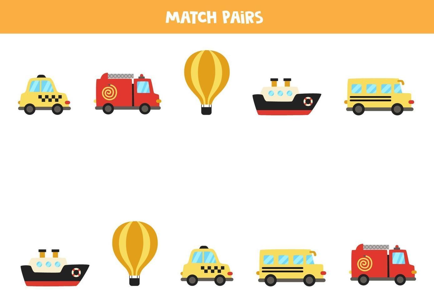 combinar pares de transporte de desenho animado. jogo lógico para crianças. vetor