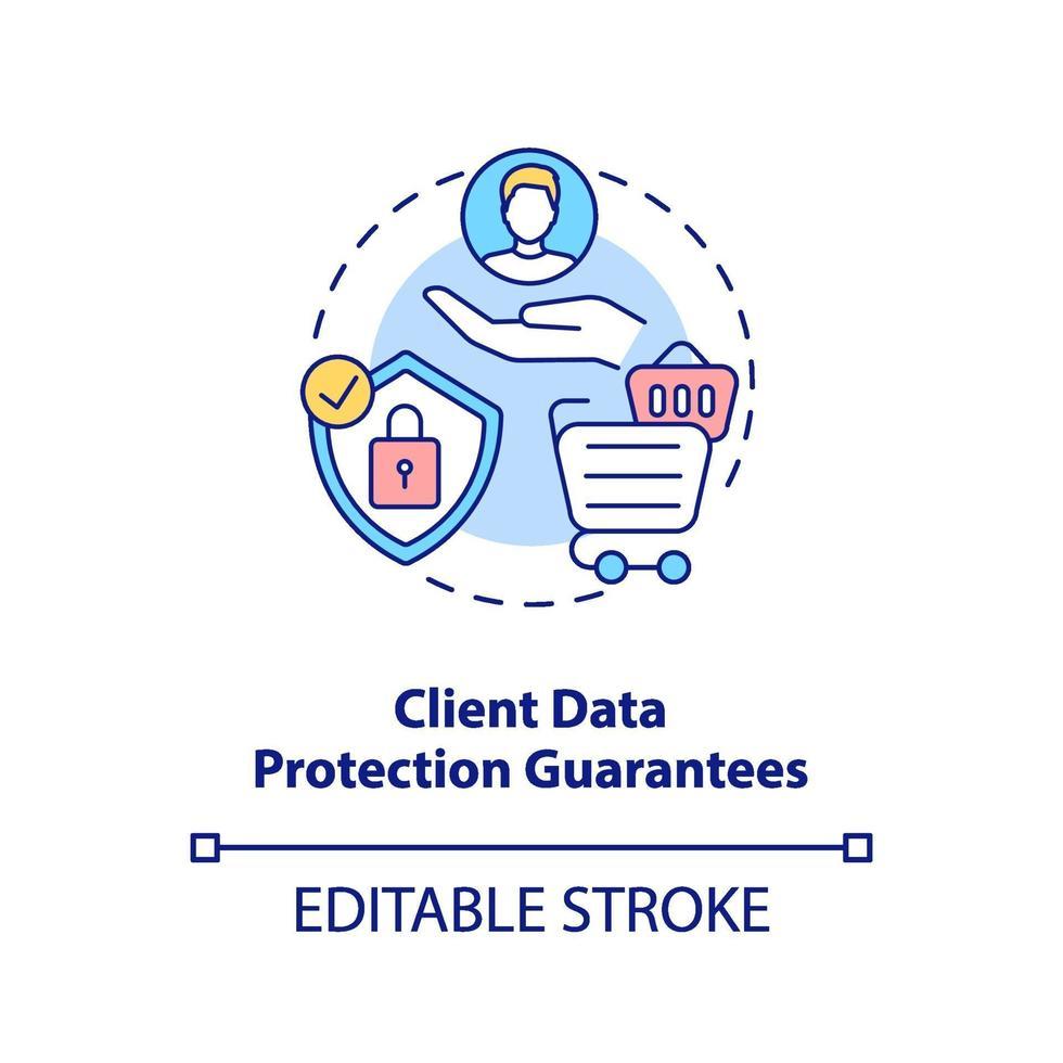 ícone do conceito de garantias de proteção de dados do cliente vetor