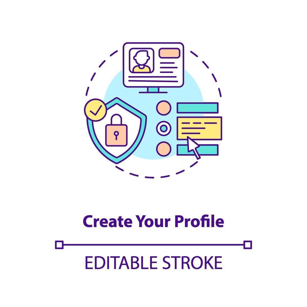 crie seu próprio ícone de conceito de perfil vetor
