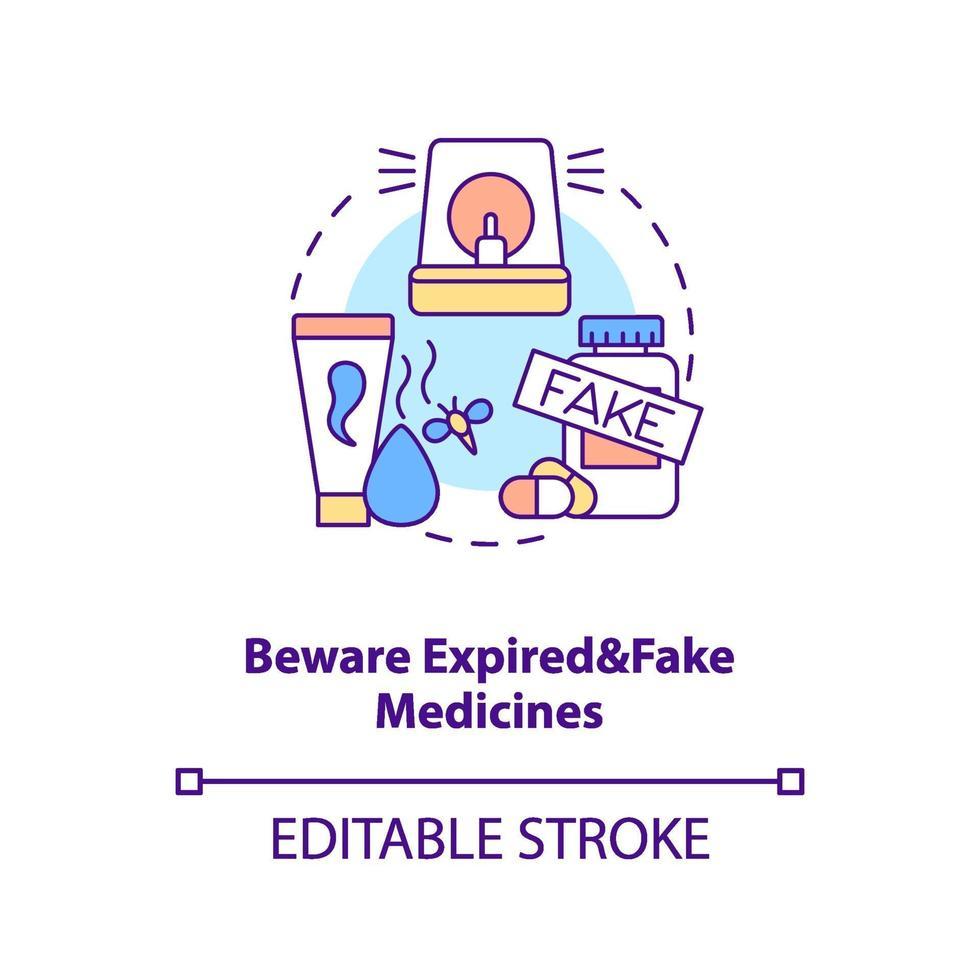 cuidado com o ícone do conceito de medicamentos expirados e falsos vetor