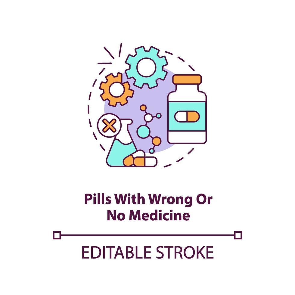 comprimidos com ícone do conceito de medicamento errado ou nenhum. vetor