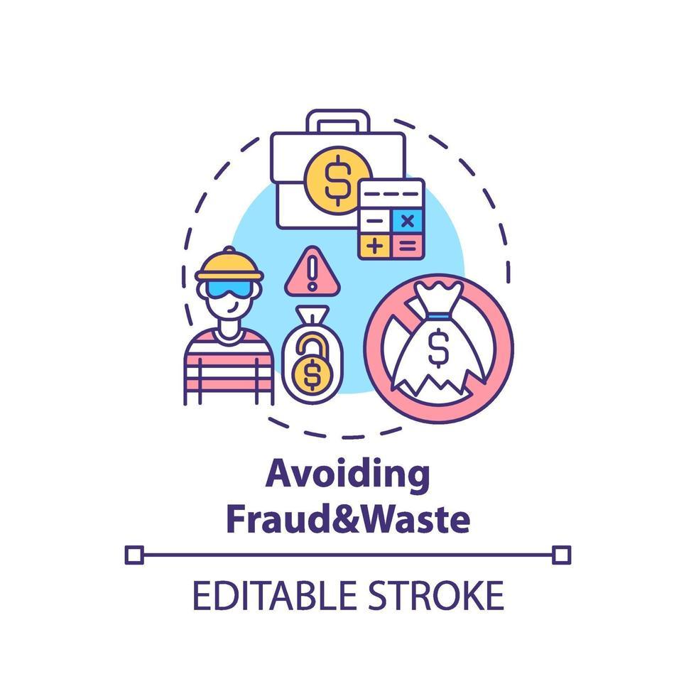 evitando fraude e ícone do conceito de desperdício vetor