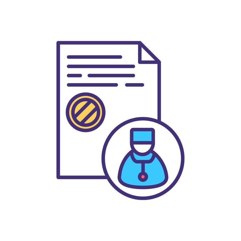 ícone de cor de prescrição médica vetor
