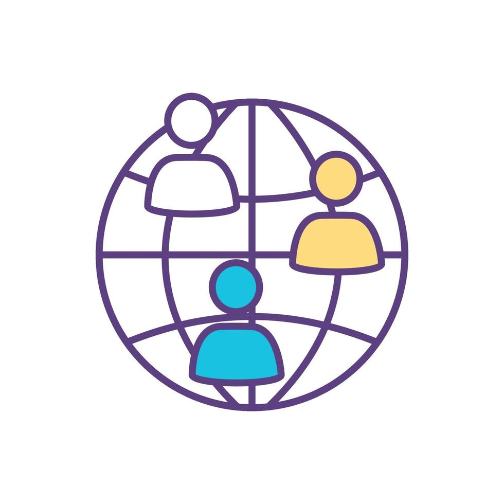 ícone de cor da comunidade internacional vetor