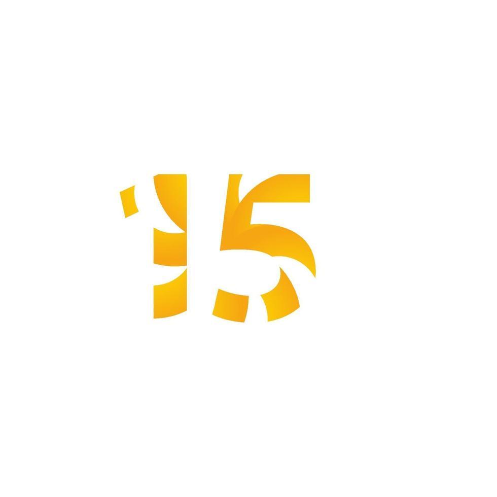 15 anos de comemoração de aniversário de ilustração de modelo vetorial vetor